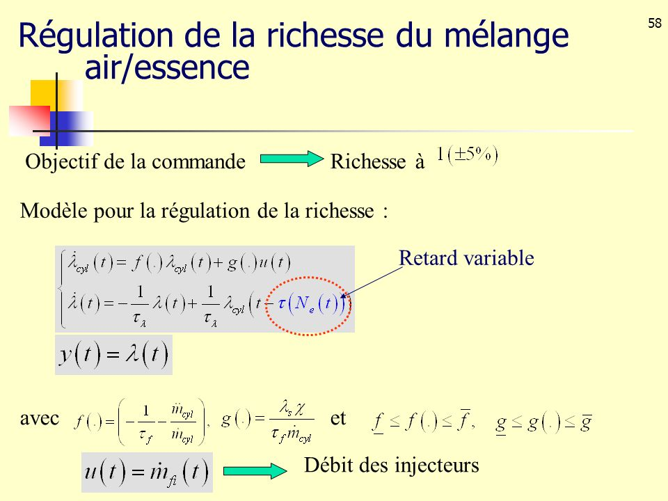 Régulation de la richesse du mélange air/essence