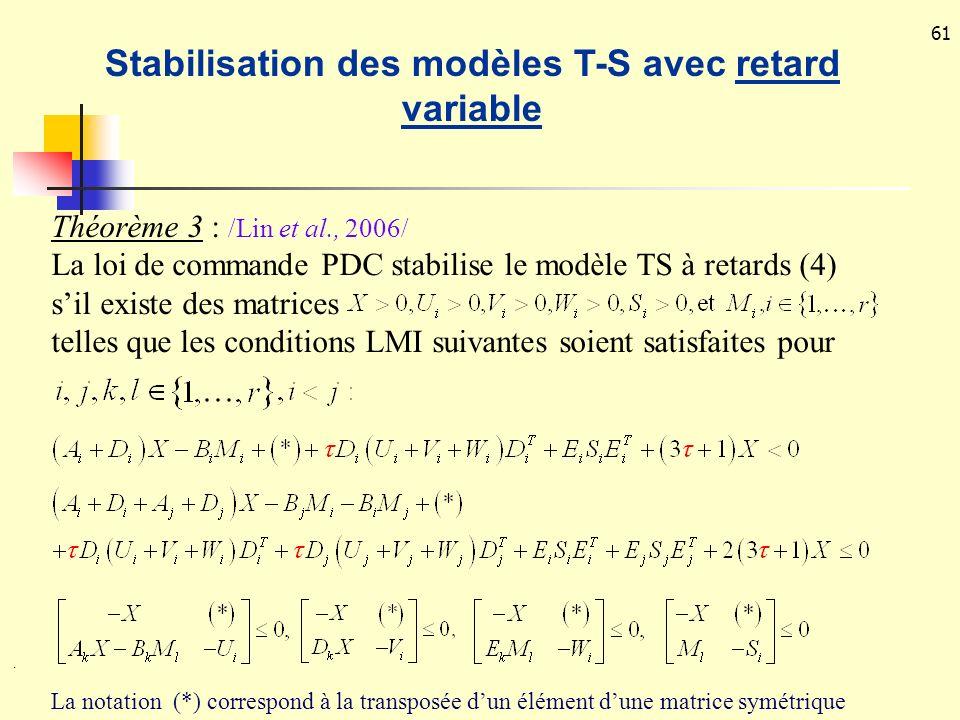 Stabilisation des modèles T-S avec retard variable