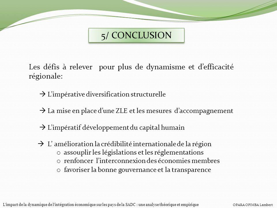 5/ CONCLUSIONLes défis à relever pour plus de dynamisme et d'efficacité régionale:  L'impérative diversification structurelle.