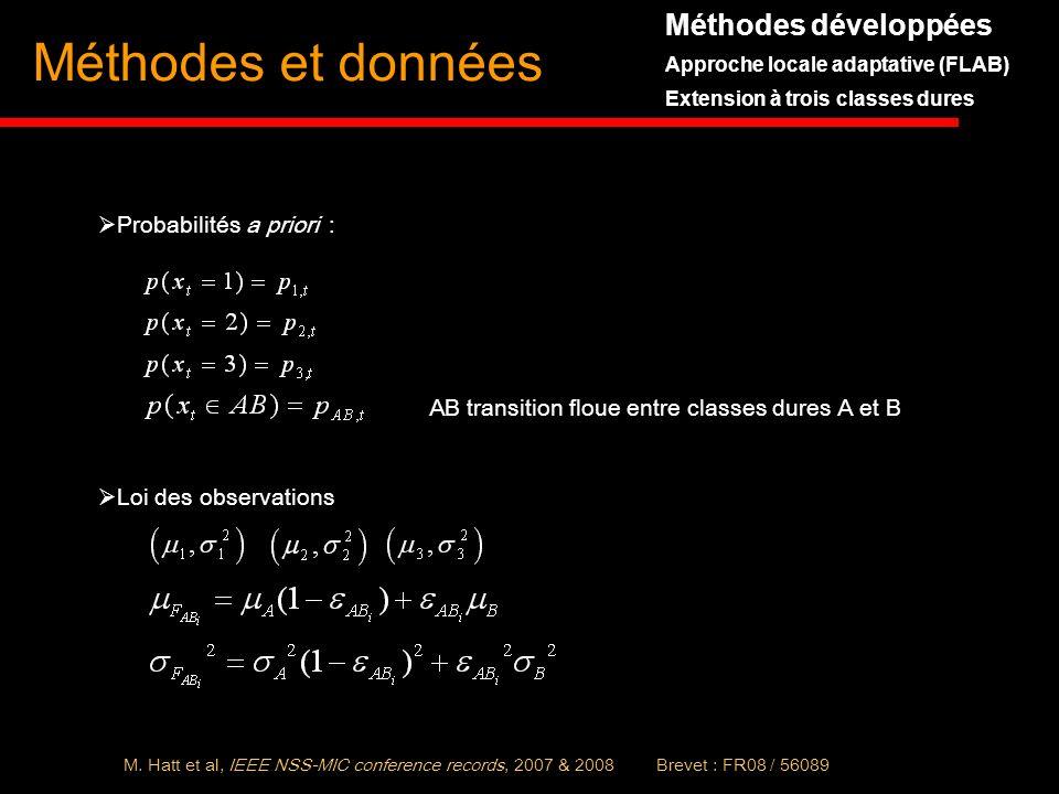 Méthodes et données Méthodes développées Probabilités a priori :