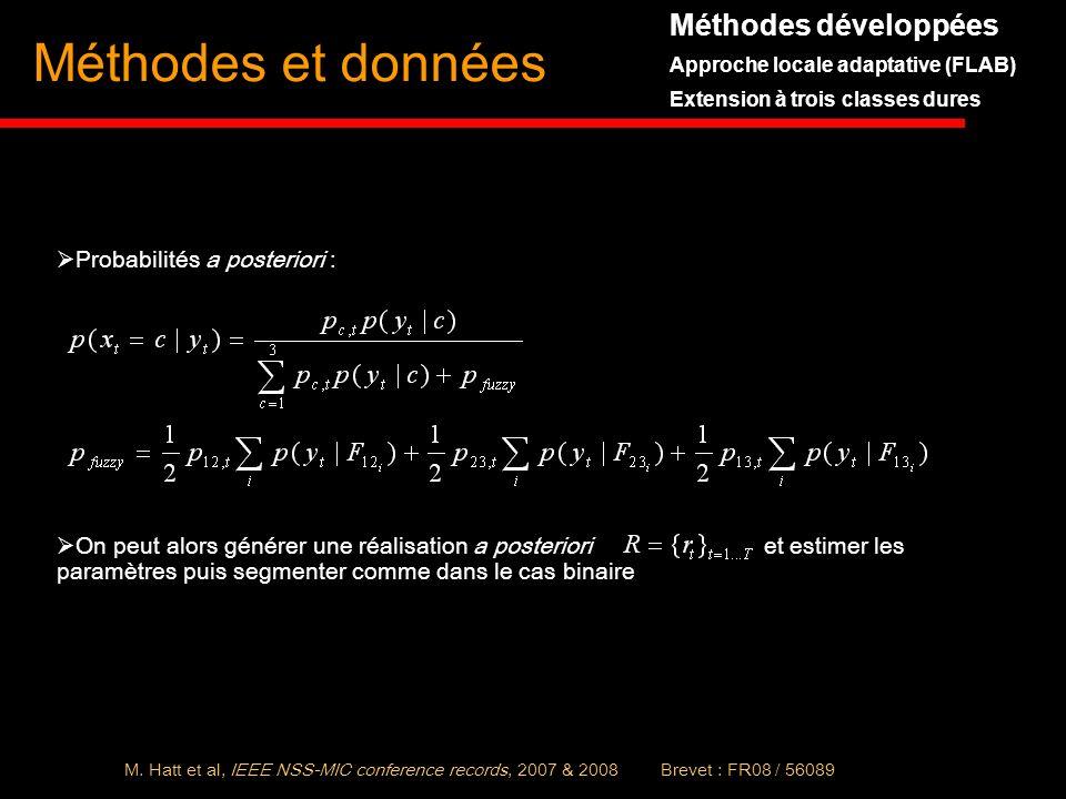 Méthodes et données Méthodes développées Probabilités a posteriori :