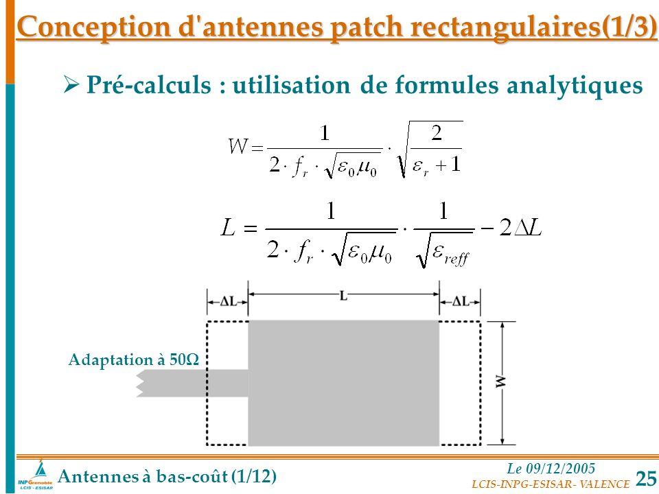 Conception d antennes patch rectangulaires(1/3)