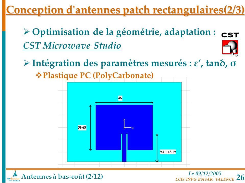 Conception d antennes patch rectangulaires(2/3)