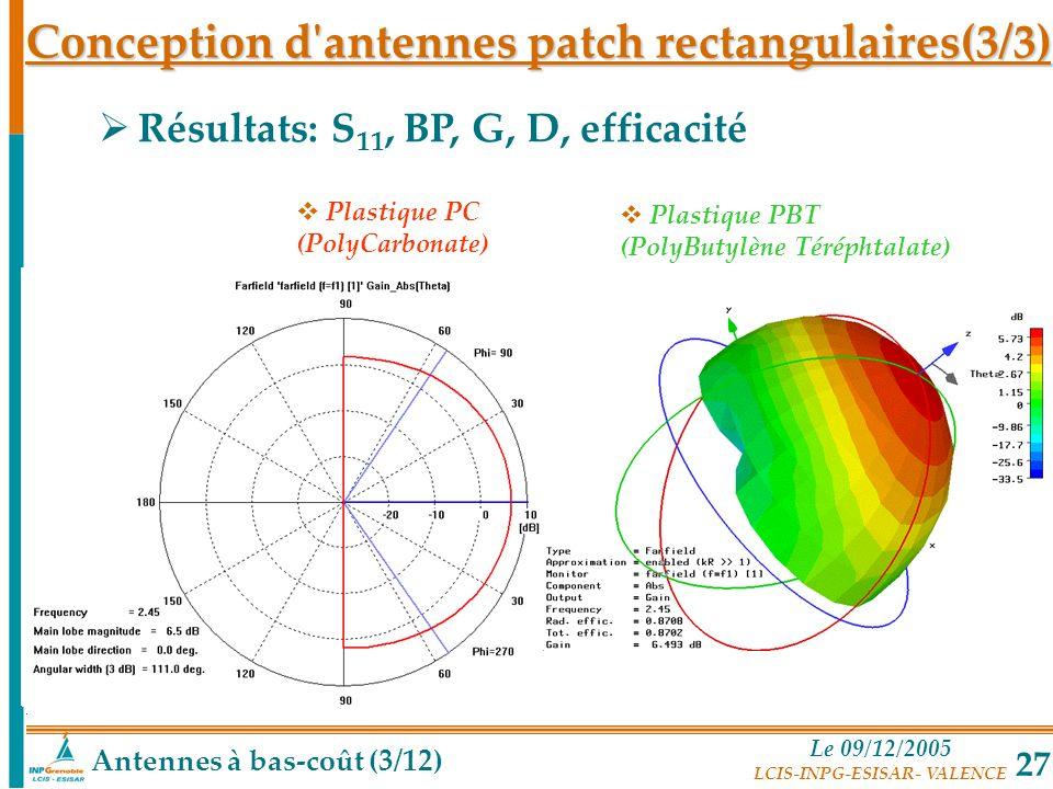 Conception d antennes patch rectangulaires(3/3)