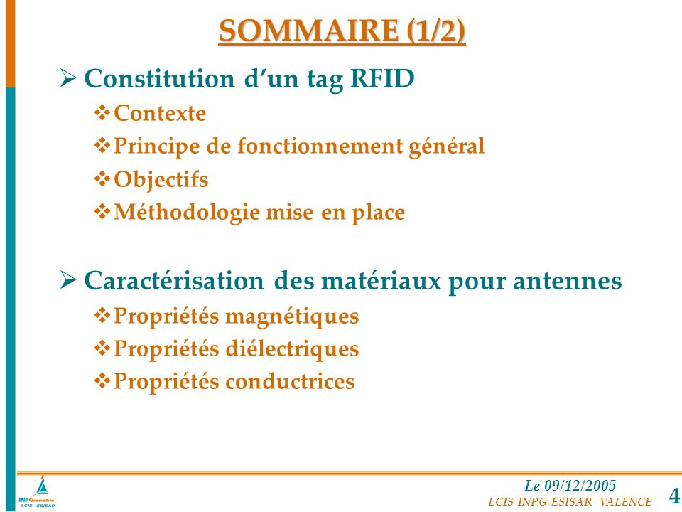 SOMMAIRE (1/2) Constitution d'un tag RFID