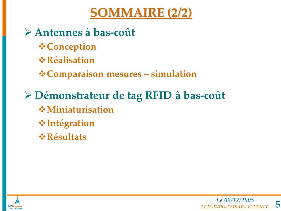SOMMAIRE (2/2) Antennes à bas-coût