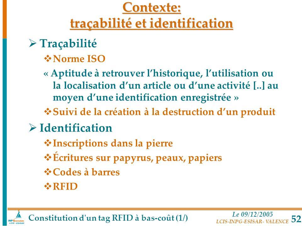 Contexte: traçabilité et identification