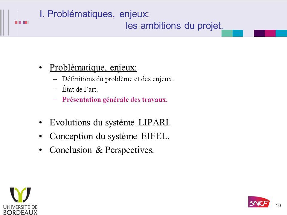 I. Problématiques, enjeux: les ambitions du projet.
