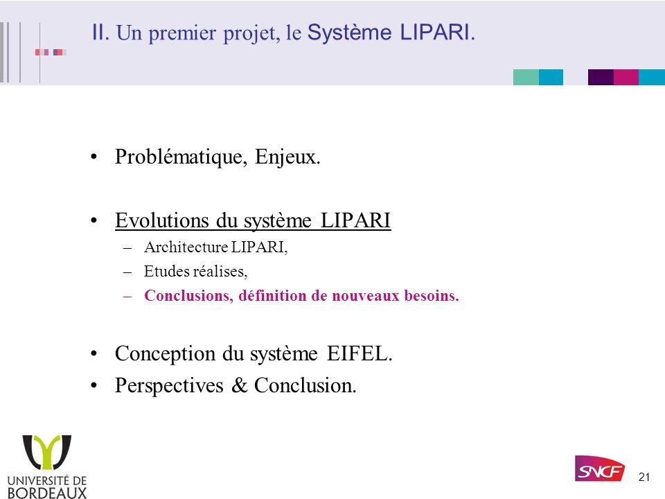II. Un premier projet, le Système LIPARI.