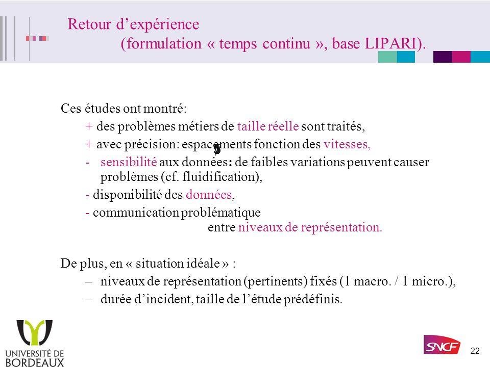 Retour d'expérience (formulation « temps continu », base LIPARI).