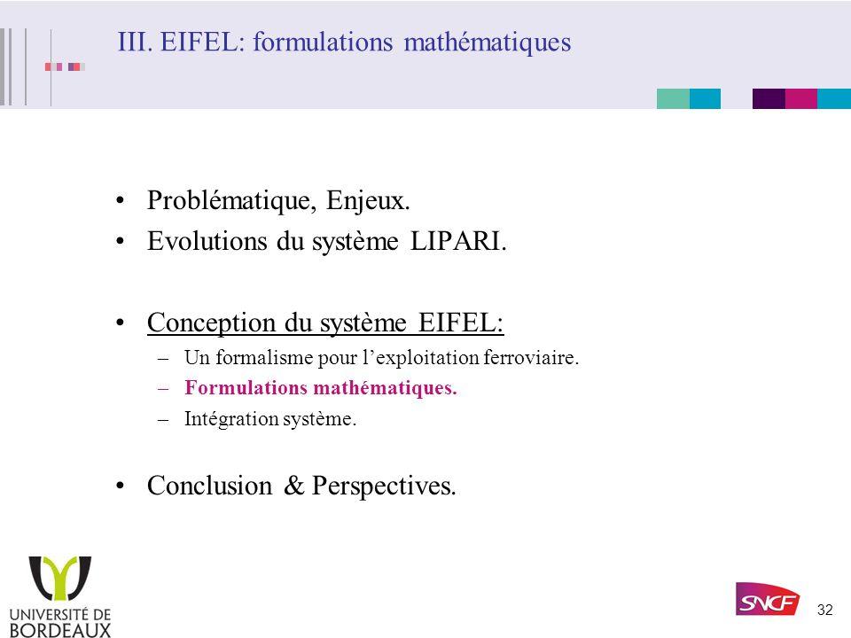 III. EIFEL: formulations mathématiques