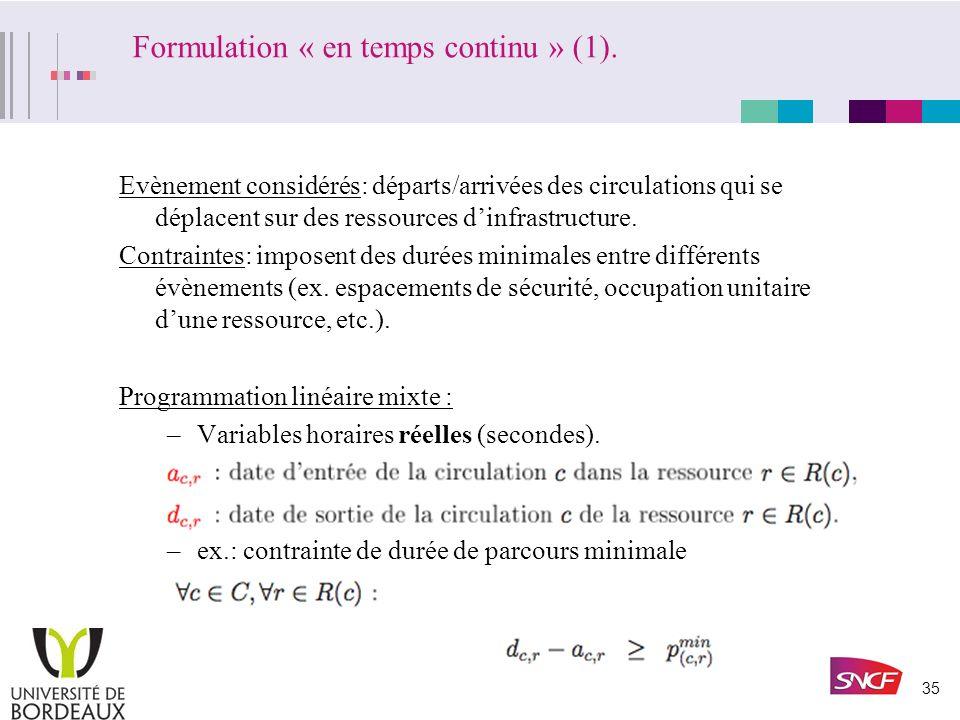Formulation « en temps continu » (1).