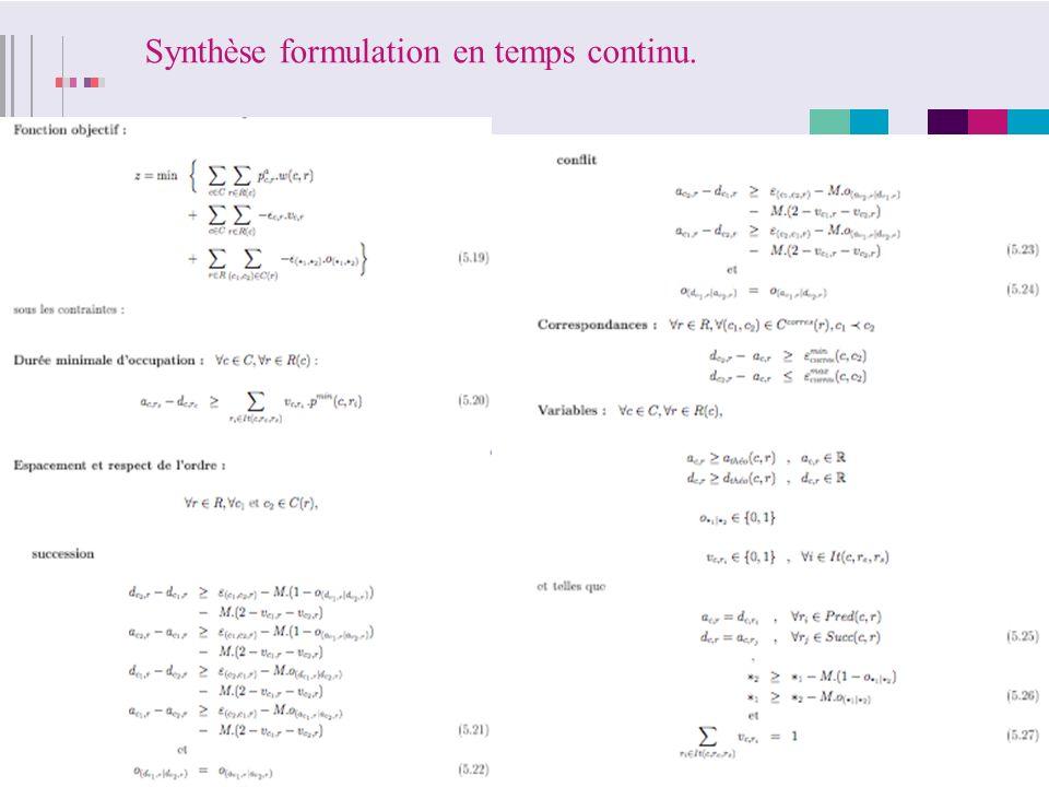 Synthèse formulation en temps continu.