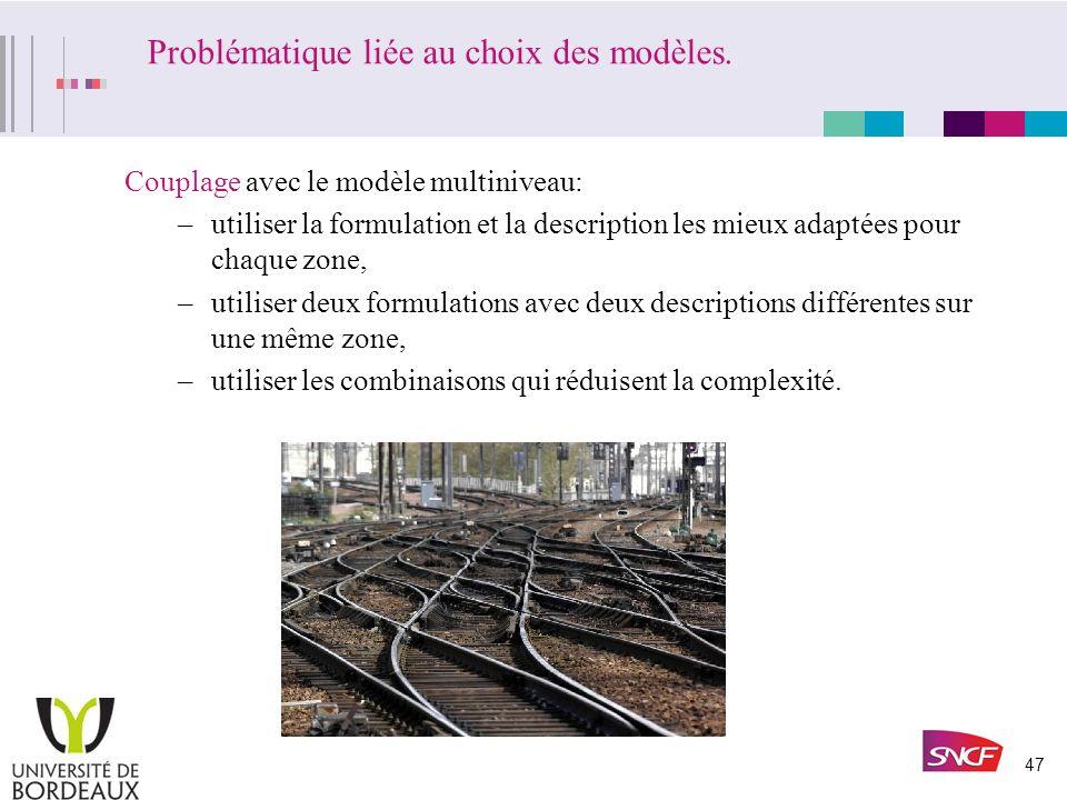 Problématique liée au choix des modèles.