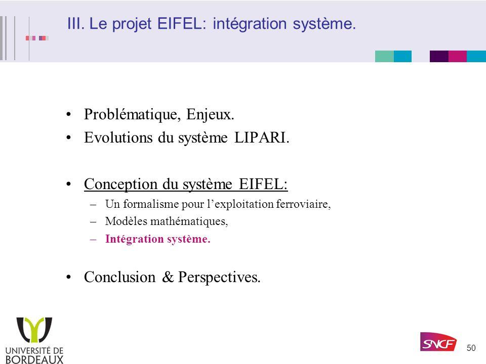 III. Le projet EIFEL: intégration système.