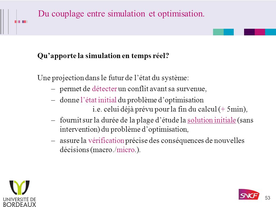 Du couplage entre simulation et optimisation.