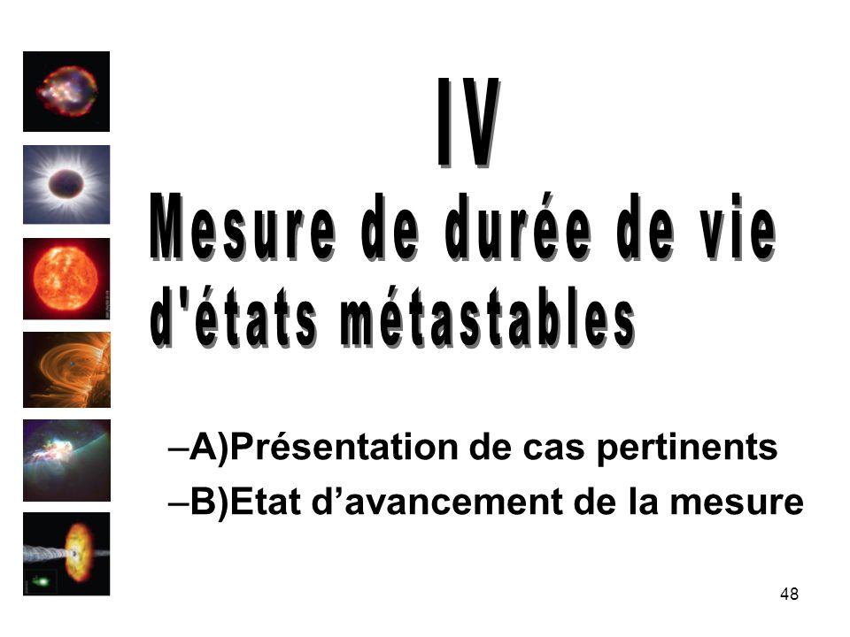 IV Mesure de durée de vie d états métastables