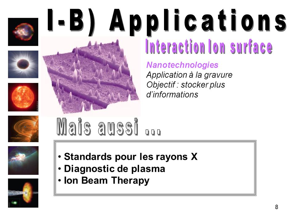 I-B) Applications Interaction Ion surface Mais aussi ...