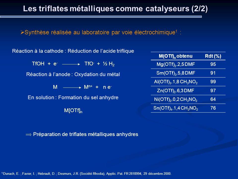 Les triflates métalliques comme catalyseurs (2/2)