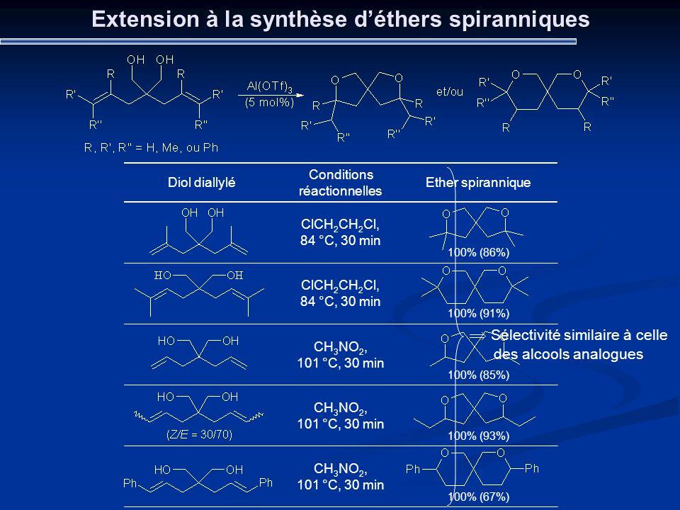 Extension à la synthèse d'éthers spiranniques