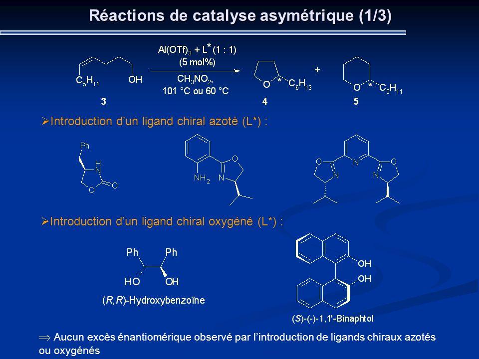 Réactions de catalyse asymétrique (1/3)