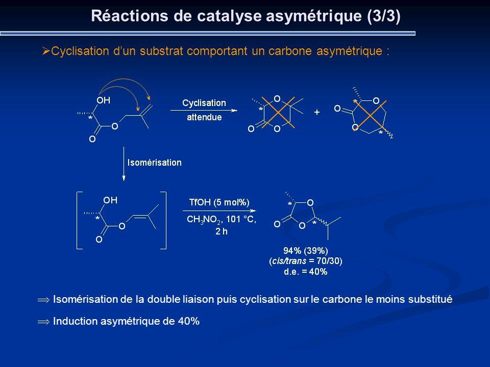 Réactions de catalyse asymétrique (3/3)