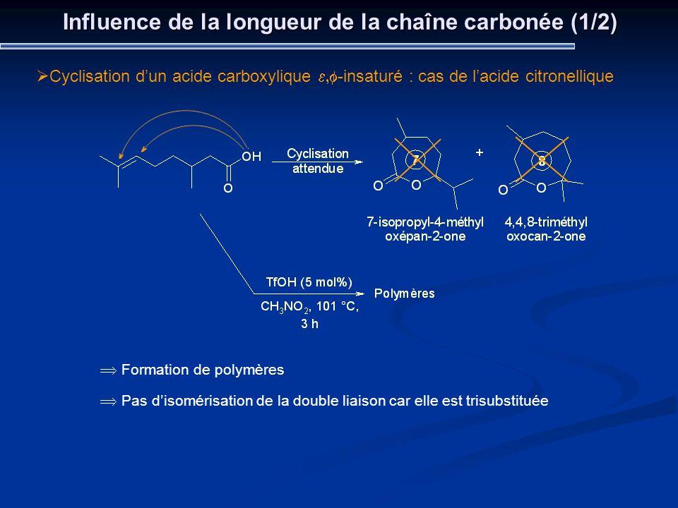 Influence de la longueur de la chaîne carbonée (1/2)