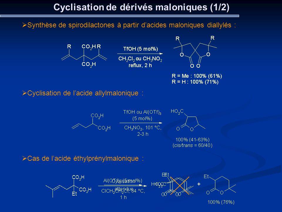 Cyclisation de dérivés maloniques (1/2)
