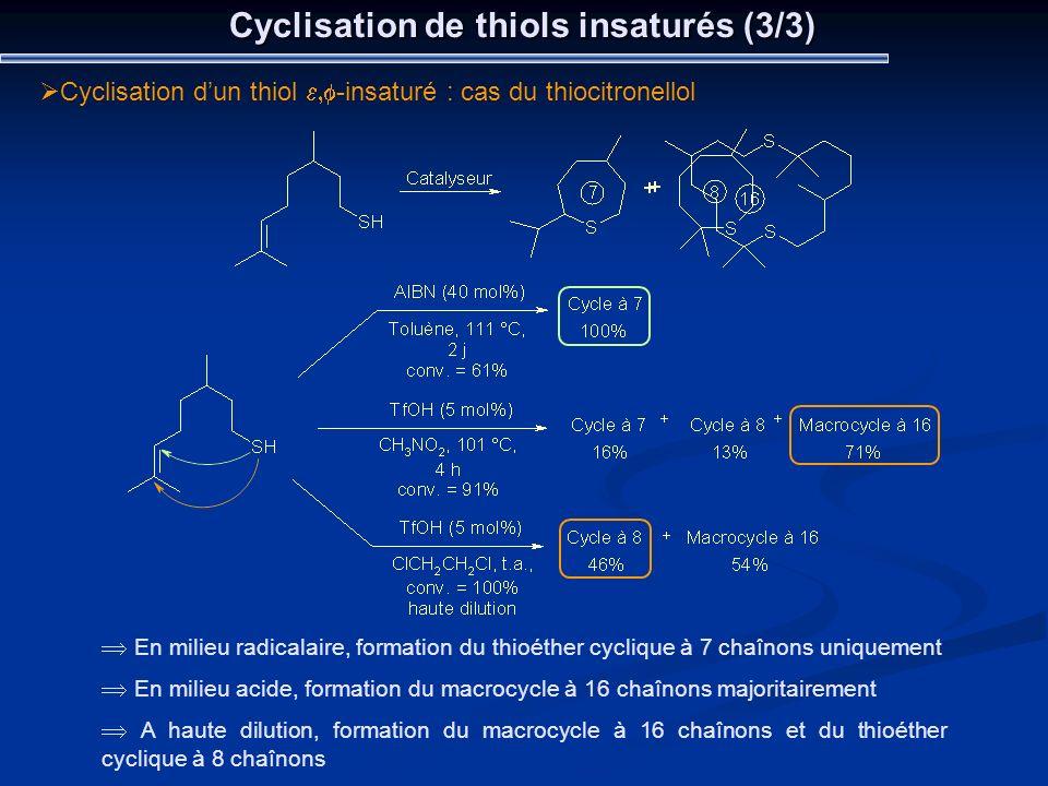 Cyclisation de thiols insaturés (3/3)