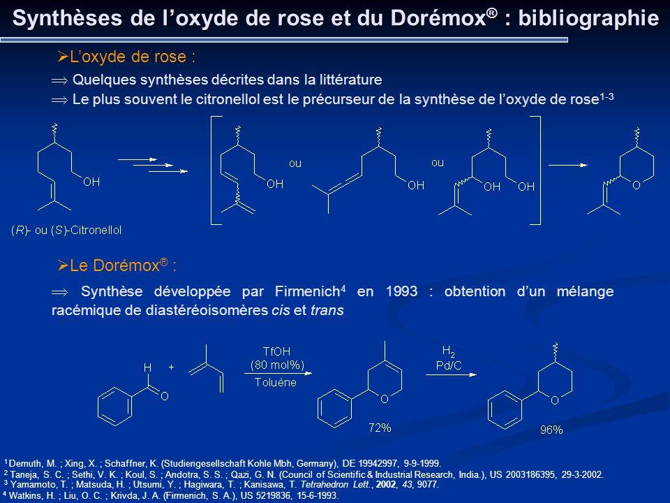 Synthèses de l'oxyde de rose et du Dorémox® : bibliographie