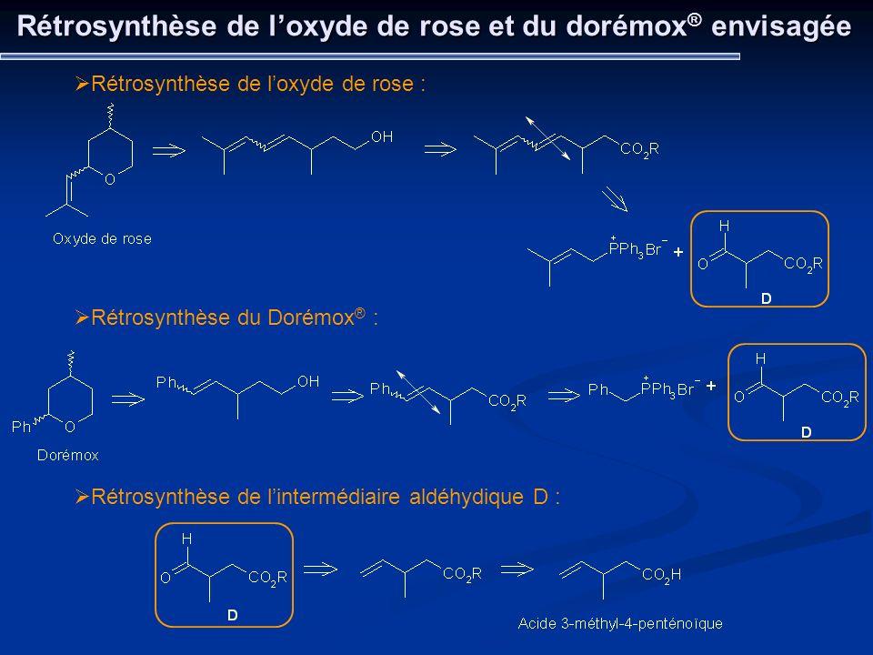 Rétrosynthèse de l'oxyde de rose et du dorémox® envisagée