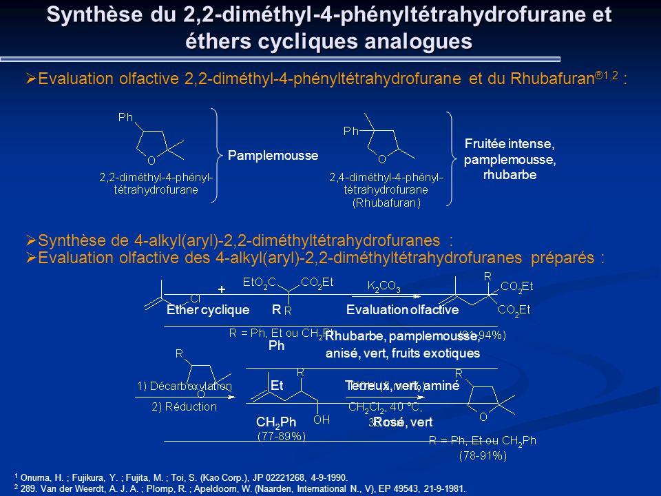 Synthèse du 2,2-diméthyl-4-phényltétrahydrofurane et éthers cycliques analogues