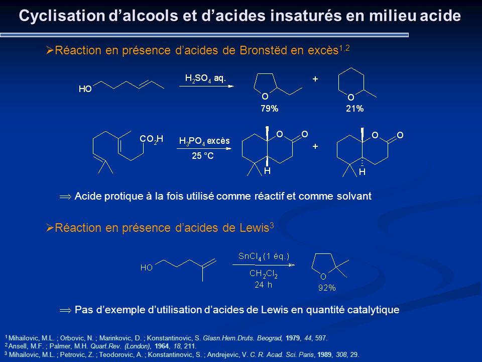 Cyclisation d'alcools et d'acides insaturés en milieu acide