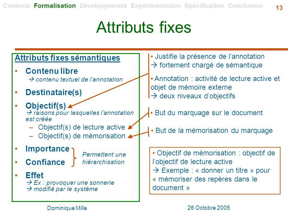 Attributs fixes Attributs fixes sémantiques