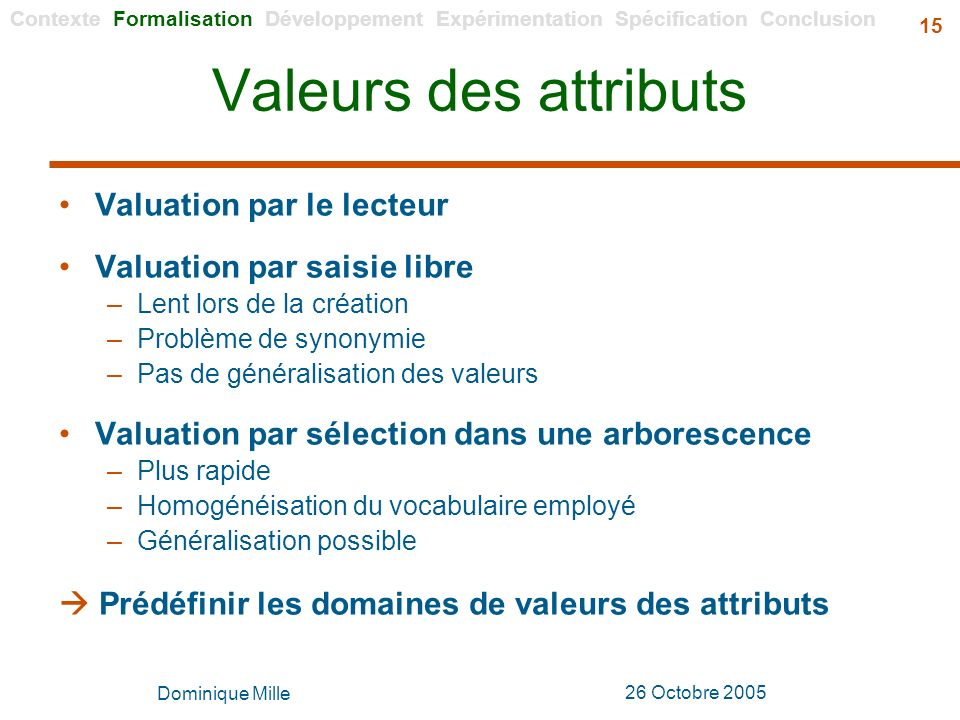 Valeurs des attributs Valuation par le lecteur