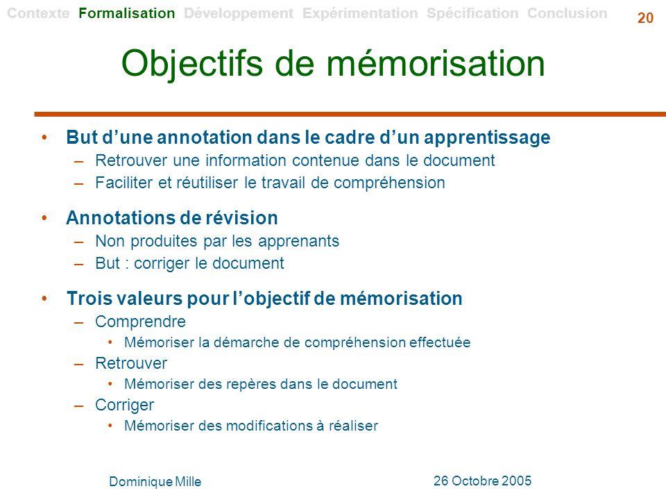 Objectifs de mémorisation