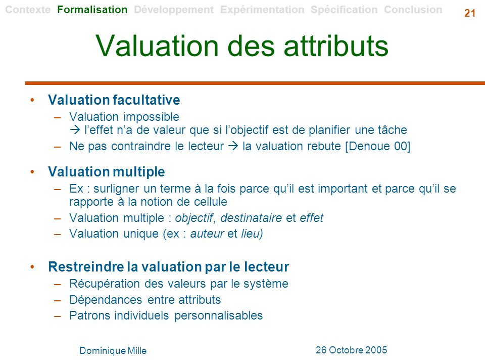 Valuation des attributs