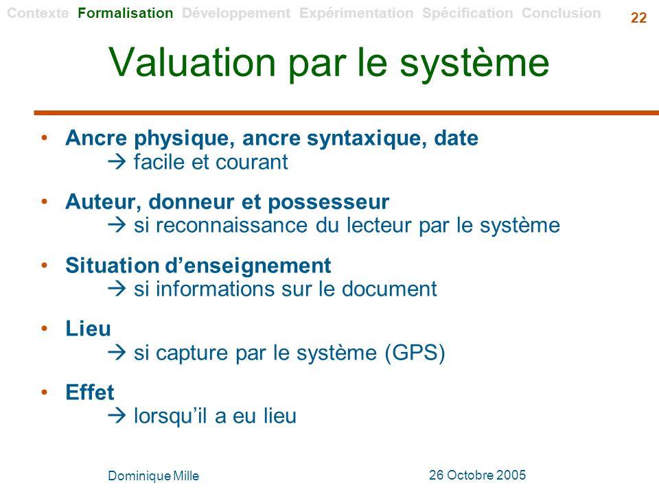 Valuation par le système