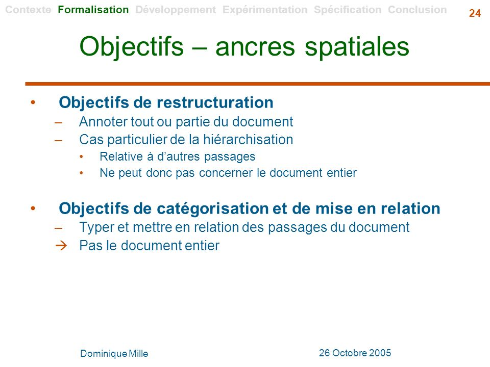 Objectifs – ancres spatiales