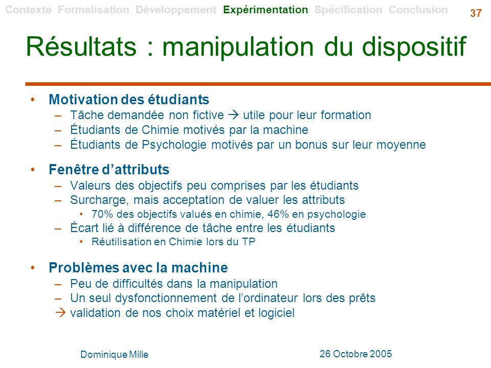Résultats : manipulation du dispositif