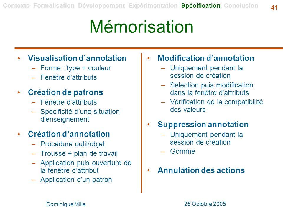 Mémorisation Visualisation d'annotation Création de patrons