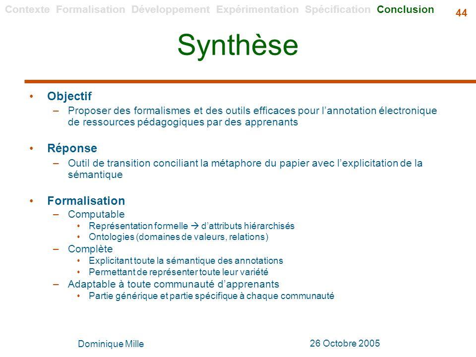 Synthèse Objectif Réponse Formalisation