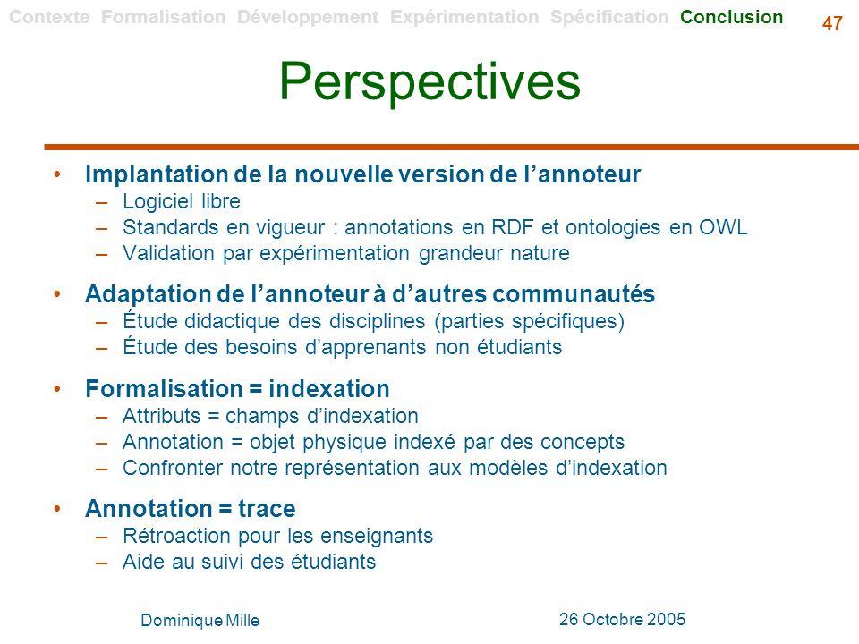 Perspectives Implantation de la nouvelle version de l'annoteur