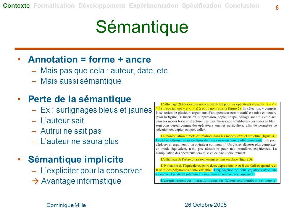 Sémantique Annotation = forme + ancre Perte de la sémantique