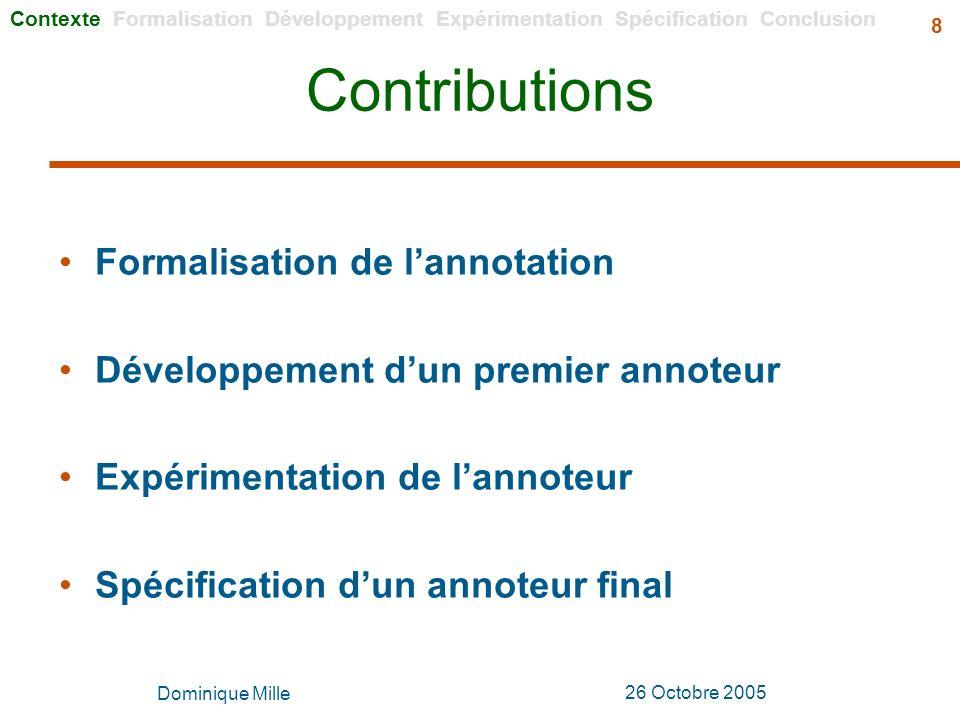 Contributions Formalisation de l'annotation