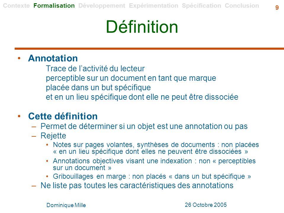 Définition Annotation Cette définition Trace de l'activité du lecteur