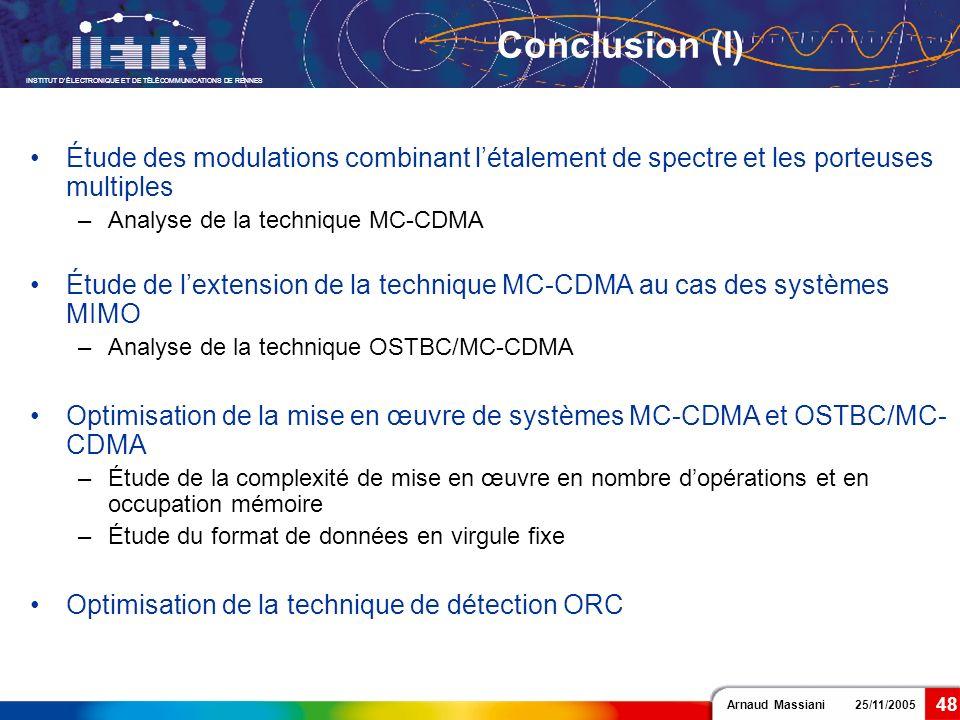 Conclusion (I) Étude des modulations combinant l'étalement de spectre et les porteuses multiples. Analyse de la technique MC-CDMA.