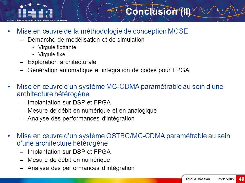 Conclusion (II) Mise en œuvre de la méthodologie de conception MCSE