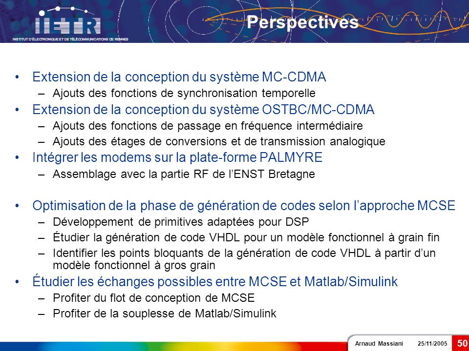 Perspectives Extension de la conception du système MC-CDMA
