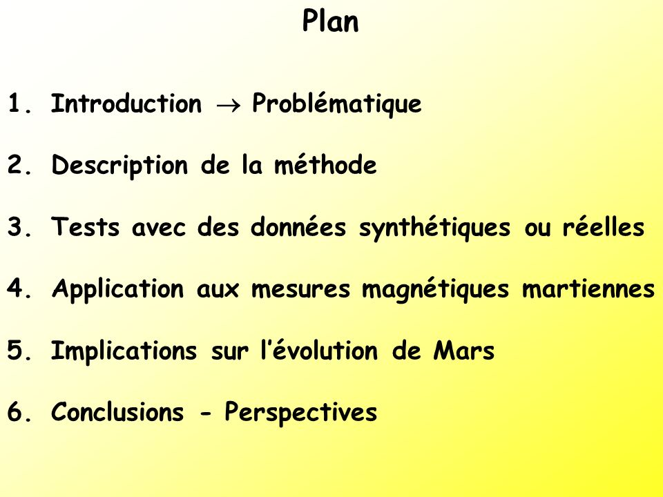 Plan Introduction  Problématique Description de la méthode